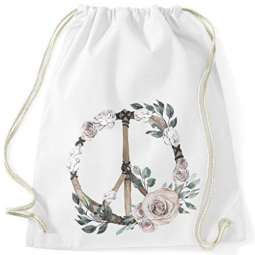 Autiga Turnbeutel Peace-Symbol Blumen Flowerpower Hippie Boho Bohemian weiß Unisize -