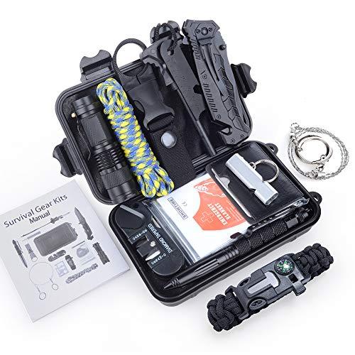 Jelife Kit de Survie d'urgence 13 en 1 avec Trousse de Premiers Secours Lampe de Poche Portable pour Randonnée Camping