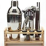 Bartender - Juego de 12 piezas de utensilios para cóctel, mezclador de vino, jarra de madera para bebidas, profesional para cocina y cafeteras (250 ml) 250 ml As Picture Show