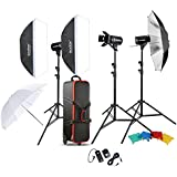 Godox Professional Photography Photo Studio Speedlite éclairage lampe Kit (3 *) 300W Studio Flash stroboscope Stand Softbox Soft réflecteur parapluie