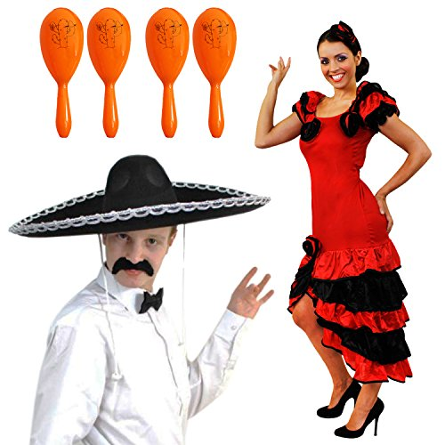 SPANISCHES MEXIKANISCH MARIACI RUMBA ODER SALSA PAARE = MIT 4 ORANGEN MARACAS = KOSTÜM VERKLEIDUNG = DAS PERFEKTE KOSTÜM FÜR SIE UND IHN FÜR DIE SCHNELLE VERKLEIDUNG = AN KARNEVAL ()