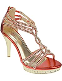070eade4834d Chic Feet Womens Party Diamante Evening Wedding Bridal Prom Mid High Heel  Sandals