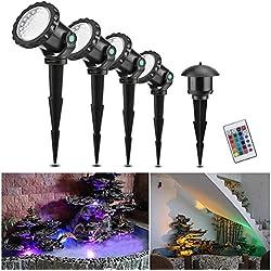 Projecteur sous-marin avec télécommande, ONEVER 10W 4PCS RGB Led Lampes sous-marins IP68 imperméable à l'eau, 4 modes d'éclairage pour Gardon Landscape Park Pond Fish Tank Aquarium Décoration, EU Plug