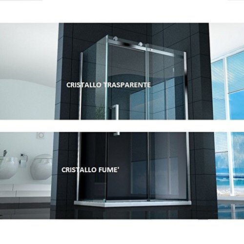 Box doccia 8 apertura scorrevole 75x120 90x110 cristallo trasparente o fumè I