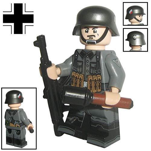 Custom Brick Design - WW2 Serie - Deutscher Soldat V.4 Figur - modifizierte Minifigur des bekannten Klemmbausteinherstellers & somit voll kompatibel zu Lego