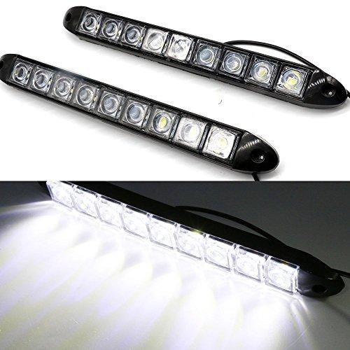 Usun 9LED Luz diurna 2unidades 6W 8000K Blanco LED Auto Tiras DRL luz diurna Luz niebla bombilla iluminación resistente al agua 12V