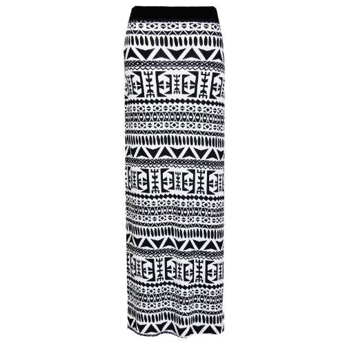 Flirty Wardrobe Jupe longue pour femme Noir imprimé Elasricated jupe + ceinture Taille 36–50 Blanc - Tribal White