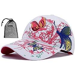 Qchomee Sombrero de béisbol con diseño de Mariposa y Mariposa para Mujer, Ideal para Viajes, Deportes, Playa, protección Solar, Fiesta, etc, Color Blanco, tamaño Womens Head Size 58CM