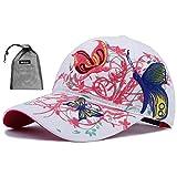 parent-child da ragazza, cotone farfalla Embrioderied berretto da baseball hip hop regolabile berretto da viaggio sport spiaggia protezione solare cappello party da cappello, White, Womens Head Size 58CM