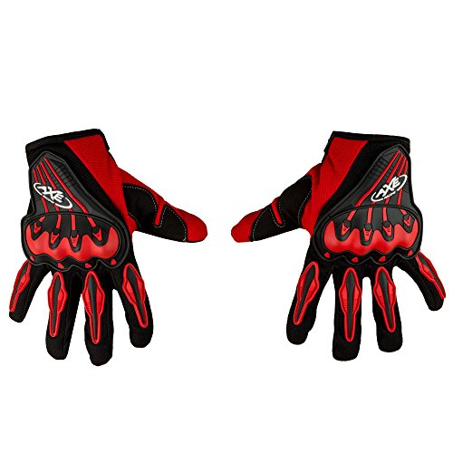 Autofy AXE Universal Full Fingers Leather Riding Gloves/Hand Gloves (Black, Red/XL)