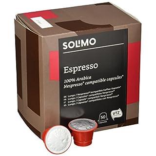 Amazon-Marke: Solimo Nespresso* kompatible Espresso Kapseln- UTZ zertifiziert 100 Kapseln (2 x 50)