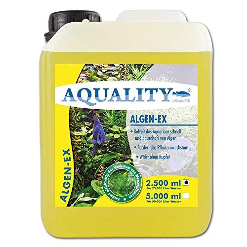 AQUALITY Algen-EX 2.500 ml (GRATIS Lieferung innerhalb Deutschlands - Erstklassiger Algenvernichter und Algenmittel für Ihr Aquarium - Befreit Sie von Fadenalgen, Bartalgen, Kieselalgen oder Blau- und Schmieralgen)