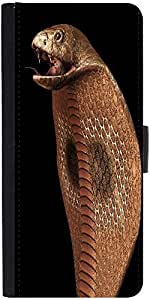 Snoogg Cobra Graphic Snap On Hard Back Leather + Pc Flip Cover Lg G3