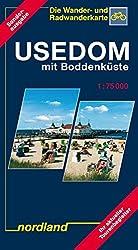 Nordland Karten, Usedom mit Boddenküste (Deutsche Ostseeküste)