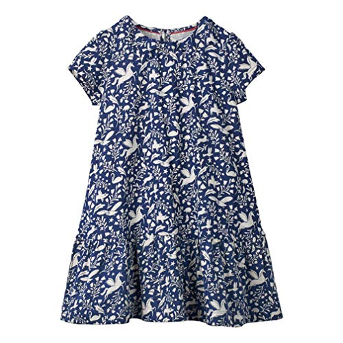 Mädchen Baumwolle Kurze Ärmel Kleid Lässiger süßer Drucken T-Shirt Kleid 1-7 Jahre (4-5 Jahre, Blaupause)