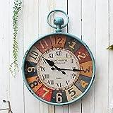 COCO Europäischen Stil Rom Brief Eisen tun alte Wanduhr amerikanischen Stil ländlichen Französisch Retro Wohnzimmer große Wanduhr HOME