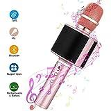 Micrófono Karaoke Bluetooth, Mbuynow TWS Micrófono Inalámbrico con Altavoces Incorporados para Cantar Función de Eco Party, Compatible con Android/iOS, PC o Smartphone (Rosa)