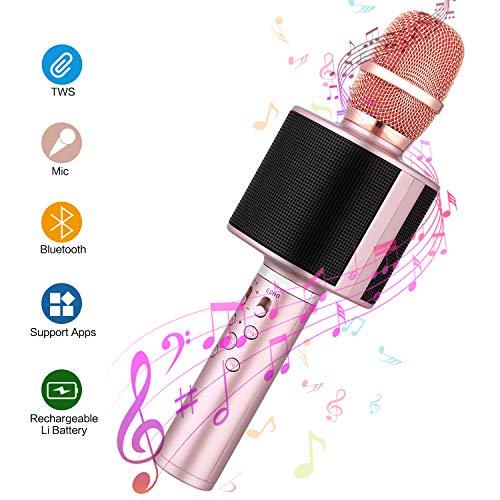 Karaoke Mikrofon Kinder, Mbuynow Drahtlose Mikrofon mit Selfiestick Bluetooth TWS 4.1 Tragbar Karaoke Microphon für Kinder Kabellose KTV Lautsprecher für PC iPhone iPad Android(rosegold)