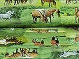 Swafing Dekostoff Tiffi, Pferde grün/braun (Meterware ab