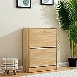 Cherry Tree Furniture 2-Drawer Wooden Shoe Cabinet Cupboard Shoe Storage Unit Footware Organiser Unit (Oak)