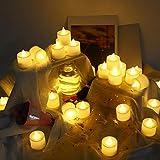 24 PCS LED Teelichter Flackernd,TechKen Teelichter Elektrische,Flackerndes Flammenloses Helles Teelicht Plastikkerzen Batterie Angetrieben MEHRWEG