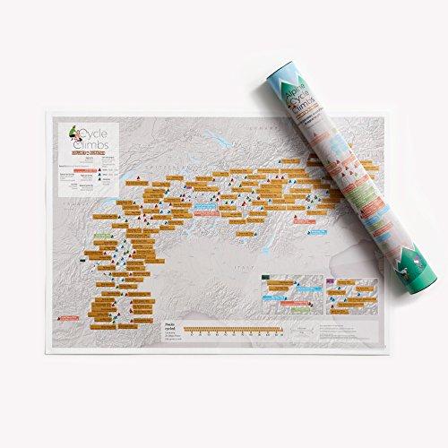 Alpiner Radsport zum Rubbeln - Maps International - Poster als Geschenk für Fahrrad-Enthusiasten - Alpen Gipfel - Geschenkröhre - A2-Format 59,4 (h) x 42 (b)