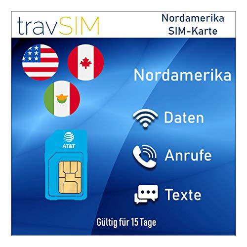 travSIM AT&T Prepaid Nordamerika SIM-Karte (Vereinigte Staaten, Kanada & Mexiko) - UNBEGRENZT* 4G LTE-Daten, Lokale Sprachanrufe & Textnachrichten Gültig für 15 Tage
