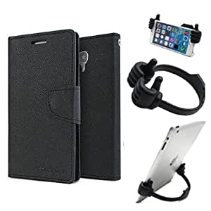 Aart Fancy Diary Card Wallet Flip Case Back Cover For Lenovo A6000 -(Black) + Flexible Portable Mount Cradle Thumb Ok Stand Holder By Aart store