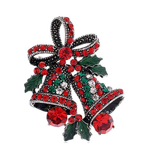 Ogquaton Weihnachten Bow Bell Boutonniere Vintage Fashion Strass Brosche Splitter langlebig und praktisch