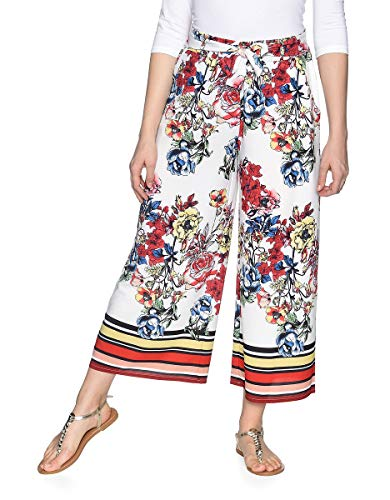 VIVENTY BERND BERGER by Adler Mode Damen 7/8-Hose im Culotte-Style aus Polyester-Crepe Weiß Mit Blumendruck 46 -