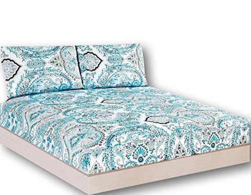 Tache Frozen Forest blau Paisley Spannbetttuch Set, baumwolle, blau, California King - California Fashion Home