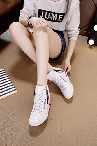 Bequeme Damen Sneaker Keilabsatz High-Top Hidden Wedges Schuhe Weiß
