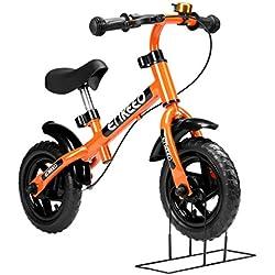"""ENKEEO - 10"""" Bicicleta de Equilibrio, Bicicleta sin Pedales para Niños de 2-5 Años, Marco de Acero al Carbono, Manillar y Asiento Ajustable, con Timbre y Freno de Mano, 50kg de Capacidad, Naranja"""