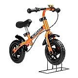 ENKEEO Prima Bici Senza Pedale per Bambini Bicicletta Altezza meno di 1m, Telaio in Acciaio al Carbonio, Sella e Manubrio Regolabile, 1 Campana Capacità fino a 50kg, Arancione