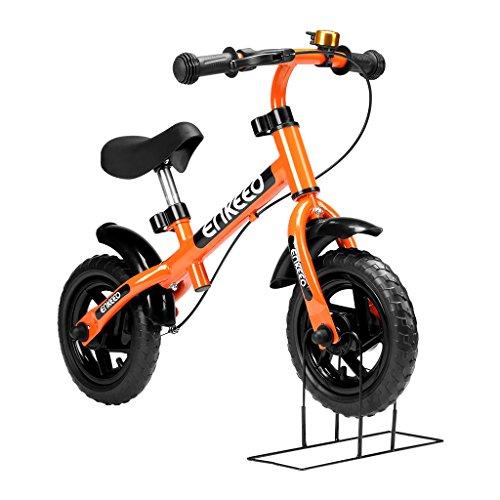 """Enkeeo - 10"""" Bicicleta de Equilibrio, Bicicleta sin Pedales para Los Niños de 2-5 Años, Marco de Acero al Carbono, Manillar y Asiento Ajustable, con Timbre y Freno de Mano, 50kg de Capacidad, Naranja"""