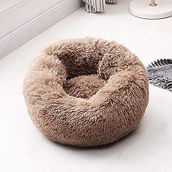 Panier en forme de donut en peluche pour animal domestique, chien, chat, rond, chaud et câlin, coussin orthopédique pour soulager et améliorer le sommeil, dessous antidérapant, lavable en machine