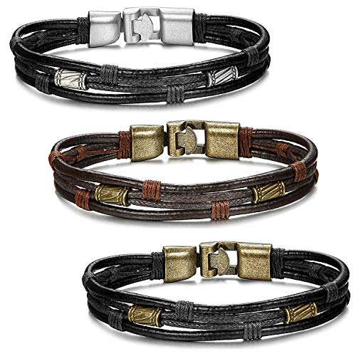 Finrezio 3 Stück Leder Armband Armreif Kordelkette Schwarz Braun Silber Lederarmband Partnerarmbänder Freundschaftsarmbänder