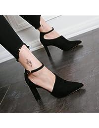 AJUNR-Zapatos De Mujer De Moda En El Otoño La Nueva Cabeza Puntiaguda Y Los Zapatos De Mujer El Lado Vacío Suede Y Los Tacones Altos El Simple Solo Sexy Zapatos Negros Thirty-Seven