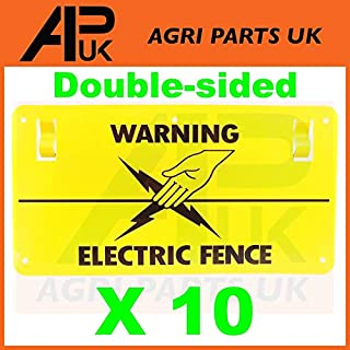 APUK 10x Electric Fence Warning Plastic Sign Double Sided Poly Wire tape Screw Fixing