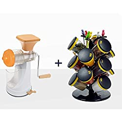 Brand New Fruit & Vegetable Premium Manual Hand Juicer Mixer Grinder & Steel Handle with 12-Jar Cute Revolving Spice Masala Box Rack (Random color will be shipped)