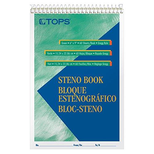 Tops Spirale Steno Bücher, 15,2x 22,9cm, Pitman Rule, greentint Papier, 80Blatt pro Buch, 12Bücher Pro Pack (8023) (Tops Spiral Steno-bücher)