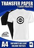 T-Shirt Folie Transferpapier FÜR HELLE STOFFE Textilien A4 15 Blatt 140g/m2 InkJet