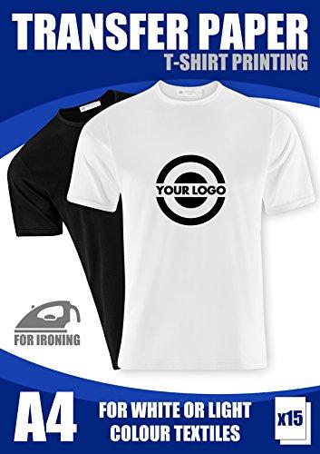 T-Shirt Folie Transferpapier FÜR HELLE STOFFE Textilien A4 15 Blatt 140g/m2 InkJet -