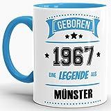 Tassendruck Geburtstags-Tasse Geboren 1967 Eine Legende aus Münster Innen & Henkel Hellblau/Geschenk/mit Spruch/Mug/Cup/Becher/Qualität Made in Germany