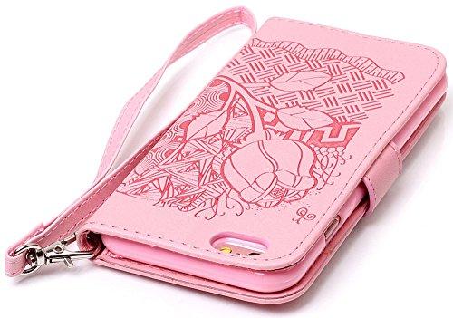 Nnopbeclik Hülle Für Apple Iphone 6 Plus, Flip Leder Tasche Handyhülle Für Iphone 6S Plus, Drucken Blume Muster Folio PU Leather Wallet Blume Case mit Karte Halter-Magnetverschluß-Klappbar Stand Handy Rosa,Pink