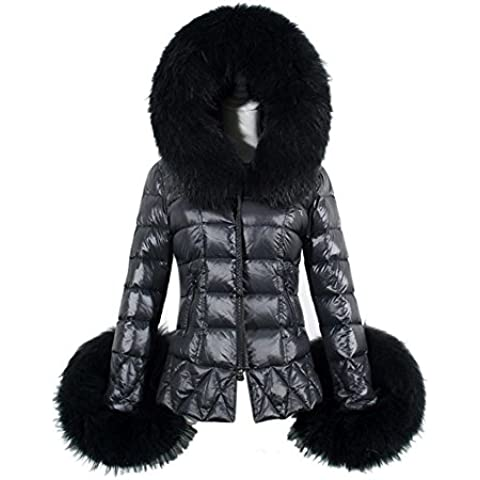 Tongshi Abajo Parka de algodón cuello de la piel de la capa encapuchada acolchada chaqueta de las nuevas mujeres de invierno