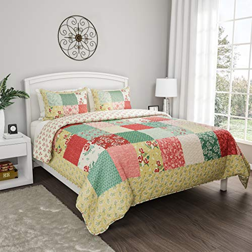 Bedford Home 3-Piece Quilt Set - Hypoallergenic Polyester Microfiber Sweet Dreams Patchwork Pastel Floral Print All-Season Blanket with Shams (Full/Queen), (Quilt Bedford)
