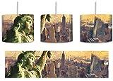 Gigantische Freiheitsstatue in New York Pinsel Effekt inkl. Lampenfassung E27, Lampe mit Motivdruck, tolle Deckenlampe, Hängelampe, Pendelleuchte - Durchmesser 30cm - Dekoration mit Licht ideal für Wohnzimmer, Kinderzimmer, Schlafzimmer
