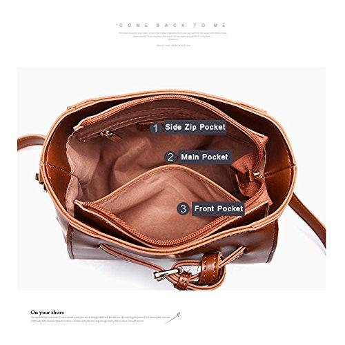 Yoome Casual Smooth Per Incontri Tiny Sacchetto Borsa Vintage per le donne Gothic Bag Charm per ragazze - marrone Nero