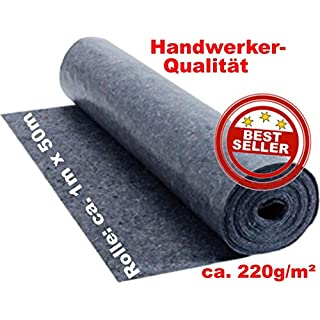 Abdeckvlies ca. 1 m x 50 m = 50 m² Malervlies in Premium Qualität mit Anti Rutsch Beschichtung, ca. 220g je qm stark, rutschhemmender Malerfilz